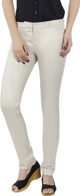 F Fashion Stylus Slim Fit Women,s Cream Trousers