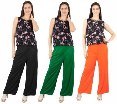 Fashion Flow+ Regular Fit Women's Black, Green, Orange Trousers