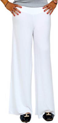 Lady in Red Regular Fit Women's White Trousers