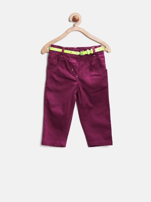 Baby League Regular Fit Baby Girl's Purple Trousers