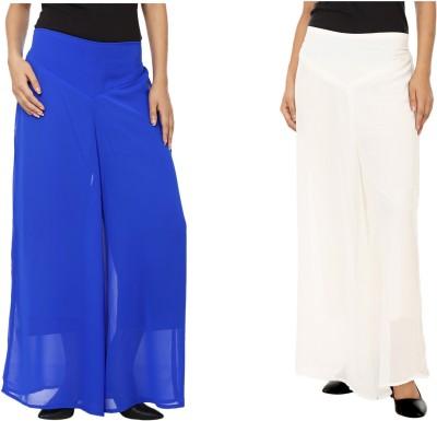 Lambency Regular Fit Women's Blue, White Trousers