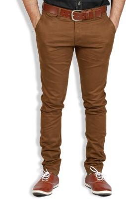 Goswhit Slim Fit Men's Brown Trousers