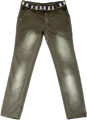 Scary Slim Fit Boy's Dark Green Trousers