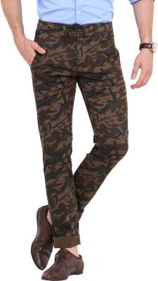 Exitplay Slim Fit Men's Brown, Green Trousers