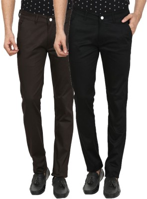 Custom Creation Slim Fit Men's Brown, Black Trousers