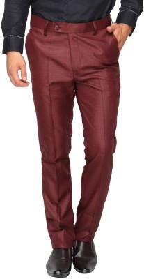 Le Bison Slim Fit Men,s Maroon Trousers