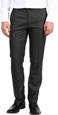 BUKKL Slim Fit Men's Dark Green Trousers