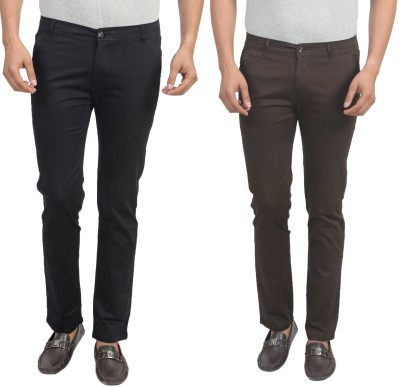 Masterly Weft Slim Fit Men's Cream, Black Trousers