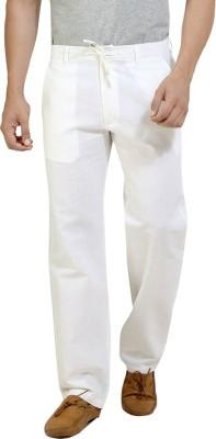 London Bee Regular Fit Men,s Linen White Trousers