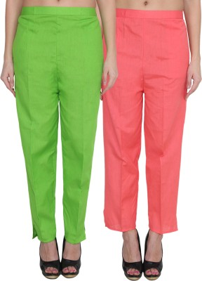 NumBrave Regular Fit Women's Green, Pink Trousers