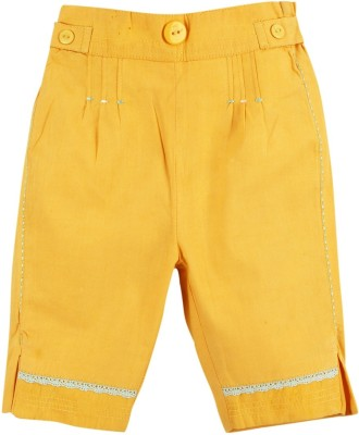 Mom & Me Regular Fit Baby Girl's Yellow Trousers