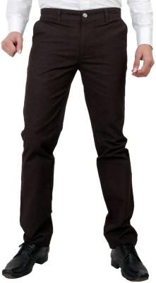 Wood Slim Fit Men's Linen Brown Trousers