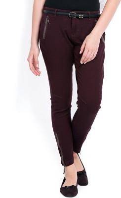Tokyo Talkies Skinny Fit Women's Maroon Trousers