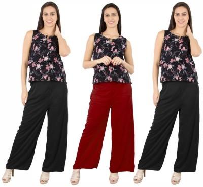 Fashion Flow+ Regular Fit Women's Black, Maroon, Black Trousers