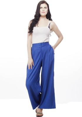 Pistaa Regular Fit Women's Blue Trousers