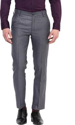 BUKKL Slim Fit Men's Grey Trousers