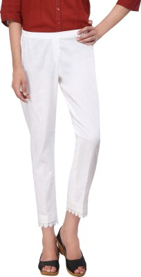 Delfe Slim Fit Women's White Trousers