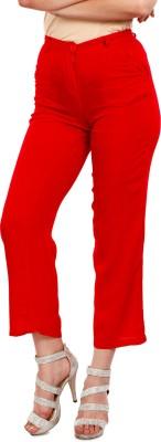 Mustard Regular Fit Women's Red Trousers