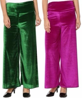 Viba London Regular Fit Women's Green, Pink Trousers