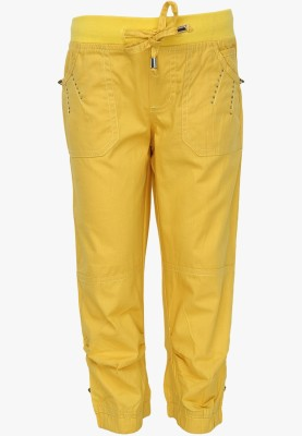 Cool Quotient Regular Fit Girl's Yellow Trousers