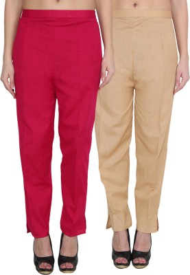 NumBrave Regular Fit Women's Maroon, Gold Trousers