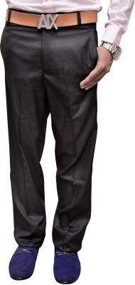 Attitude Works Slim Fit Men's Black Trousers