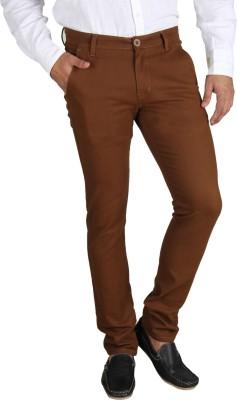 Platinum Studio Slim Fit Men's Brown Trousers
