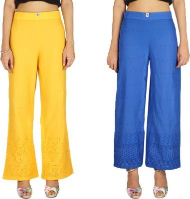 Quetzal Regular Fit Women's Yellow, Blue Trousers