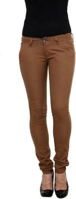 Zaab Slim Fit Women,s Gold Trousers