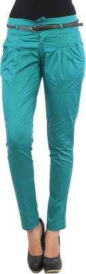 F Fashion Stylus Slim Fit Women's Green Trousers