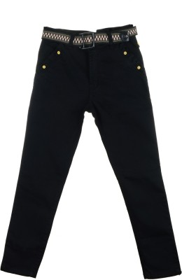 Scary Slim Fit Boy's Black Trousers