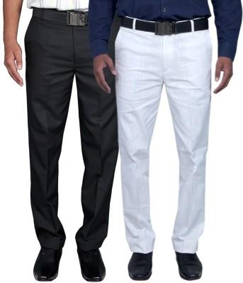 RICH PERK Regular Fit Men's Black, White Trousers