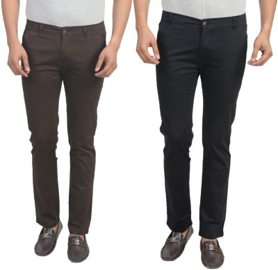 Masterly Weft Slim Fit Men's Brown, Black Trousers