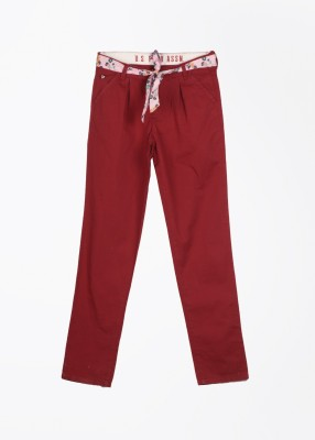 U.S. Polo Assn. Slim Fit Baby Girls Maroon Trousers