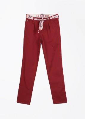U.S. Polo Assn. Slim Fit Girls Maroon Trousers