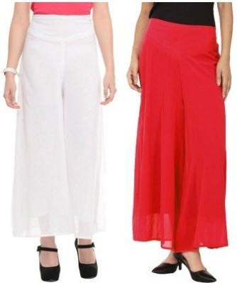 Edge Plus Regular Fit Women's White, Red Trousers