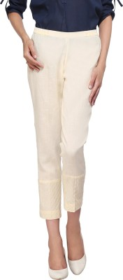 Delfe Slim Fit Women's Beige Trousers