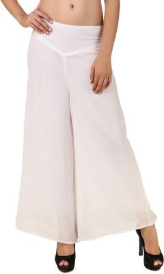 RoseBella Regular Fit Women's White Trousers