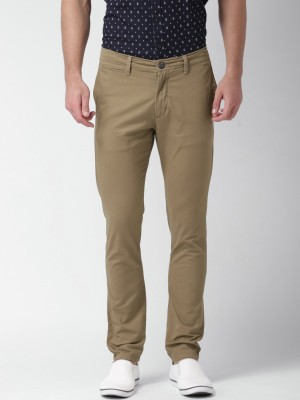 Mast & Harbour Slim Fit Men's Brown Trousers
