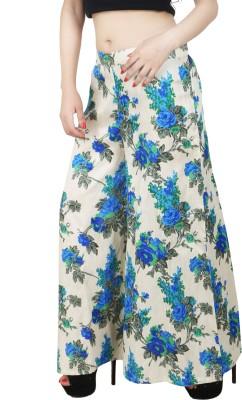 Natty India Regular Fit Women's White, Blue Trousers