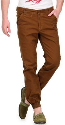 White Kalia Regular Fit Men's Brown Trousers