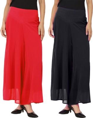 La Verite Regular Fit Women's Red, Black Trousers