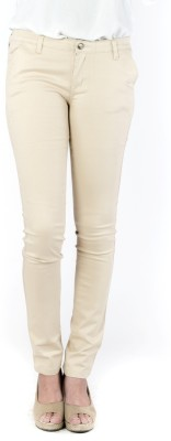 INDULGE Slim Fit Women's Beige Trousers