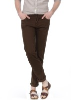 Basics Skinny Fit Mens Brown Trousers