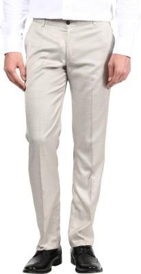 BUKKL Slim Fit Men's Cream Trousers