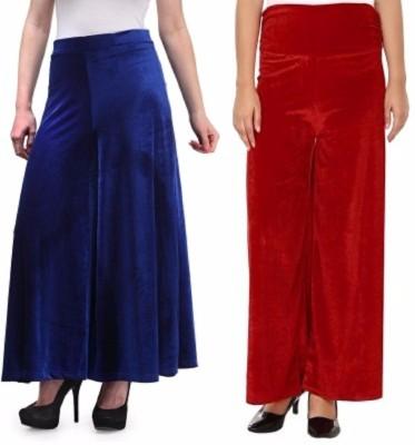 Viba London Regular Fit Women's Blue, Maroon Trousers
