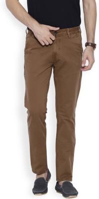 OFFLINE Slim Fit Men's Brown Trousers