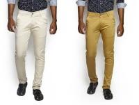 Bdow Jeans (Men's) - Bdow Fashion Collection Slim Men's Beige, Yellow Jeans(Pack of 2)