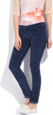 Flying Machine Skinny Fit Women's Blue Trousers