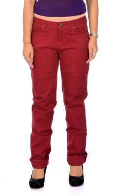 Instinct Slim Fit Women's Maroon Trousers